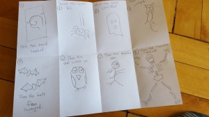 Storyboarding: They number the boxes and sketch the sequence. Use folded copy paper or any graphic organizer you like.
